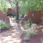 Flagstone walkway & stucco privacy wall