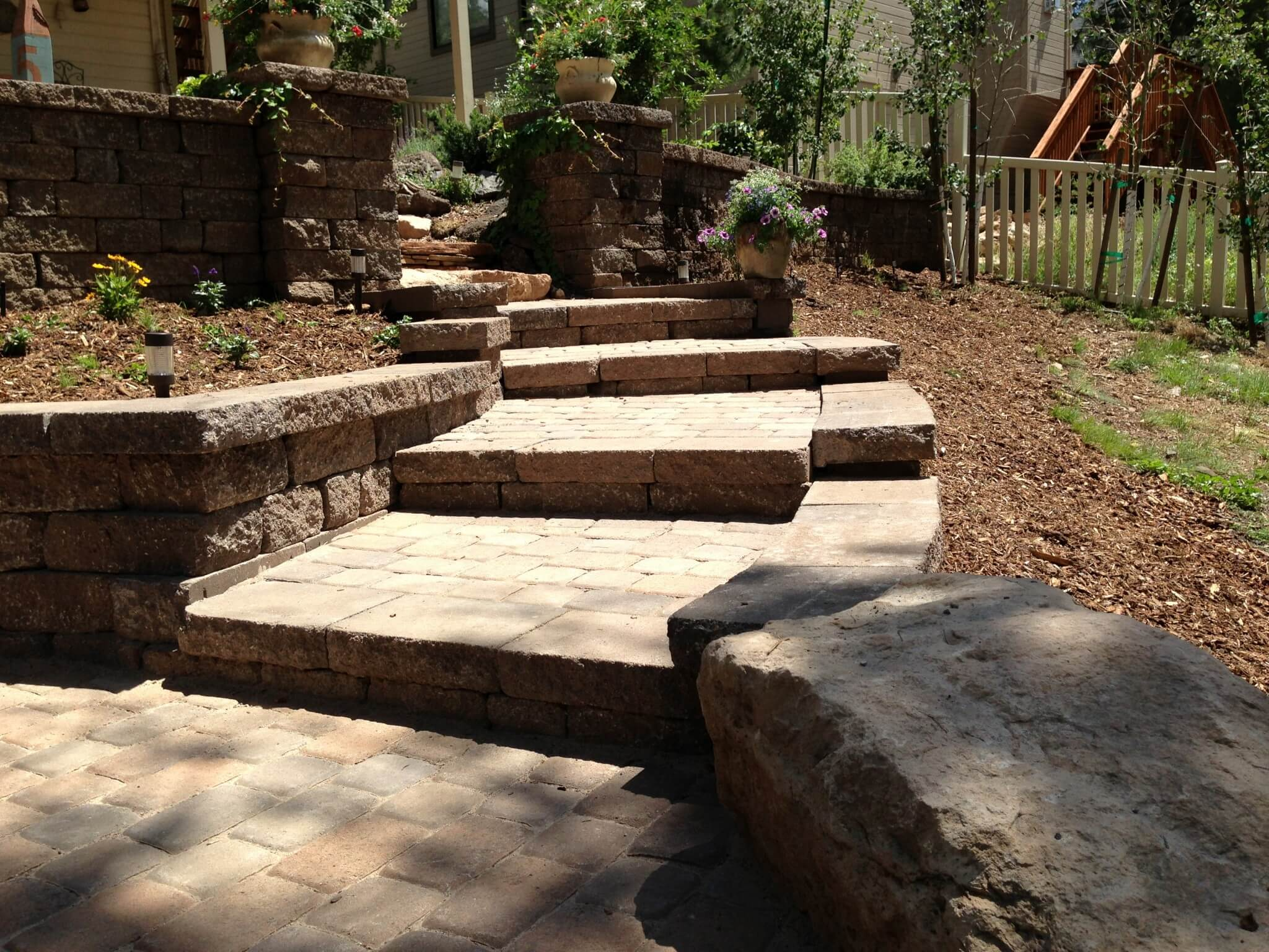 Landscaping Paver Block : Celtic block wall and paver patio flagstaff native plant